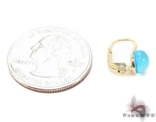 Aquamarine Cabochon Gold Hoop Earrings 34502 Stone
