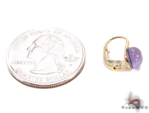 Amethyst Cabochon Gold Hoop Earrings 34504 Stone