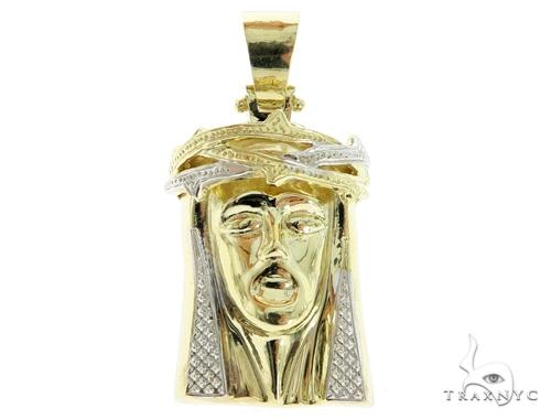 14K Yellow Gold Jesus Pendant 49666 Style