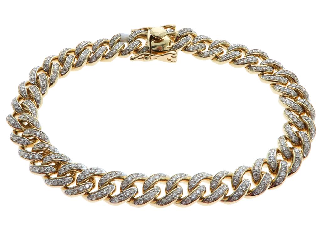 14k yellow gold pave cuban link bracelet 61577