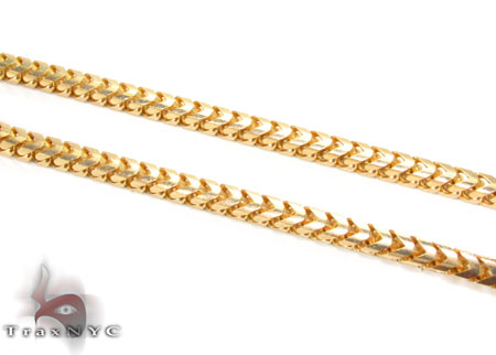 Silver 14K Yellow Gold Plated Franco Chain 36 Inches, 3mm, 40.9 Grams Silver