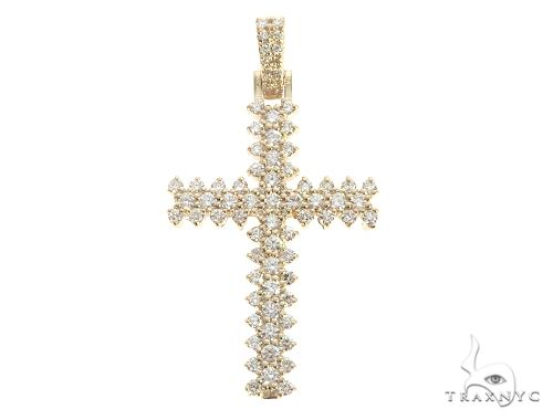 14K Yellow Gold Prong Diamond Cross 65281 メンズ ダイヤモンド クロス