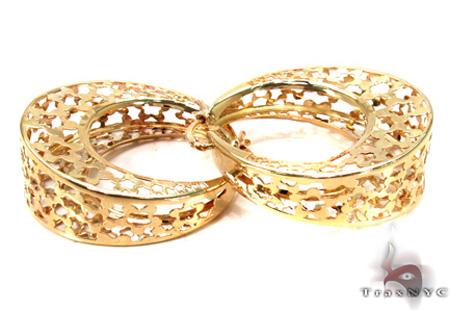 14K Gold Moon Hoop Earrings 31349 Metal