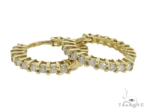 14KY Prong Diamon Hoop Earrings 57310 Stone