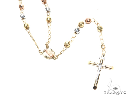 14k Gold Rosary Chain 30 Inches 5mm 14.5 Grams 43021 Gold