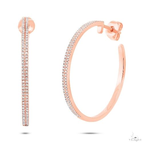 14k Rose Gold Diamond Hoop Earrings Stone