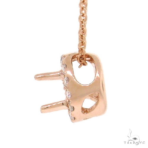 14k Rose Gold Diamond Semi-mount Pendant Necklace Style