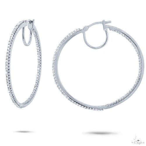 14k White Gold Diamond Hoop Earrings Stone