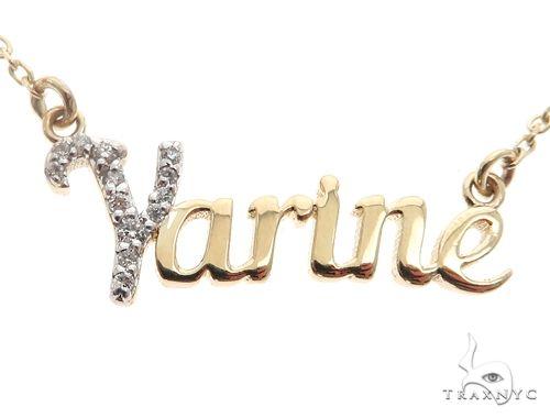 14k YG Custom 'Yarine' Name Pendant 65105 ダイヤモンドネックレス