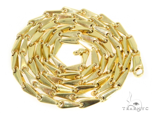 14k Yellow Bullet Gold Chain 24 Inches 4mm 20.4 Grams 44357 Gold