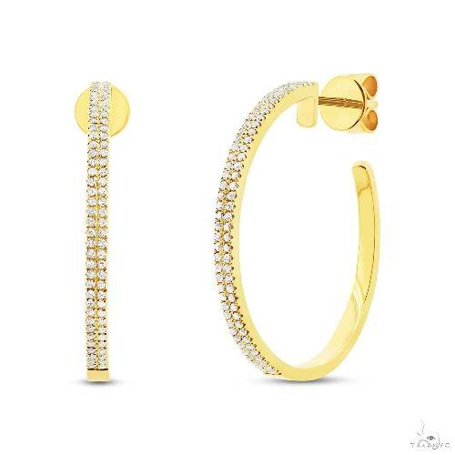 14k Yellow Gold Diamond Hoop Earrings Stone