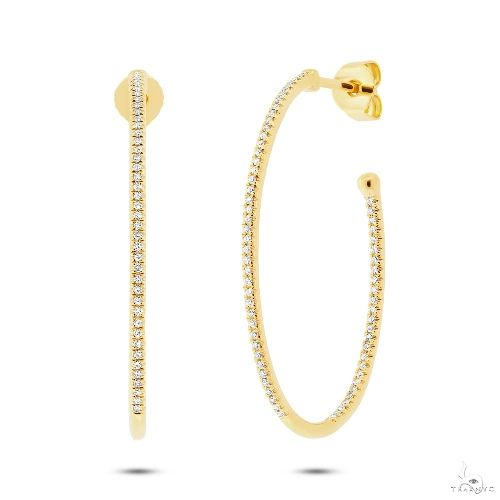 14k Yellow Gold Diamond Oval Hoop Earrings Stone