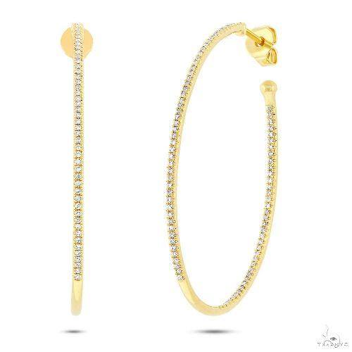 14k Yellow Gold Diamond Oval Hoop Earrings Stone