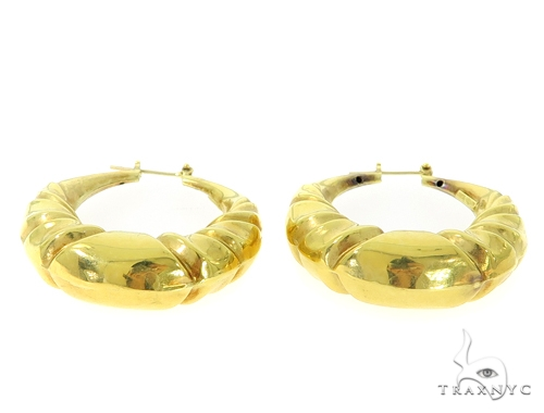 14k Yellow Gold Twisted Hoop Earrings 56804 Metal