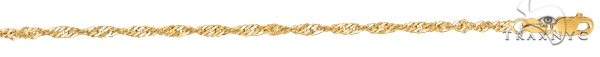 14kt 10 Inches Yellow Gold 2.1mm Diamond Cut Singapore Chain Gold