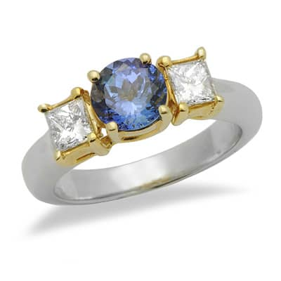 Solitaire Round Cut Tanzanite Diamond Gemstone Ring in Two Tone Gold Anniversary/Fashion