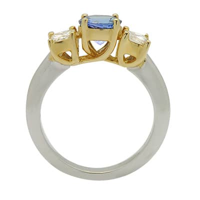 Solitaire Round Cut Tanzanite Diamond Gemstone Ring in Two Tone Gold Anniversary/Fashion