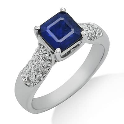 solitaire princess cut sapphire gemstone ring in