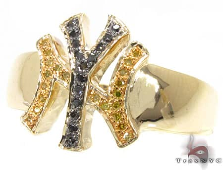 YG Canary & Black Yankees Ring Stone