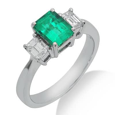 white gold princess cut solitaire emerald gemstone