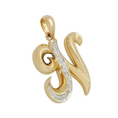 K Letter In Diamond Diamond Letter Pendant Ladies Stone Yellow Gold 18k