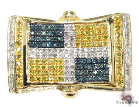 YG Canary and Blue Quadrant Ring Stone