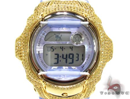 Yellow Baby G-Shock Silver&CZ Case Baby-G