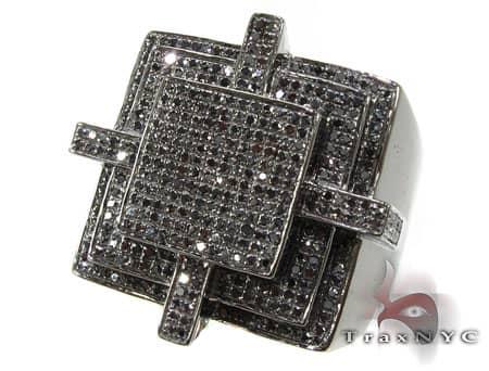 All Black Cross Ring Stone