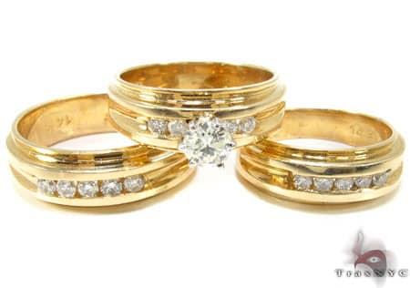 Diamond Wedding set, yellow gold