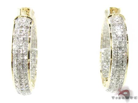 YG Fiji Hoop Earrings 4 Stone