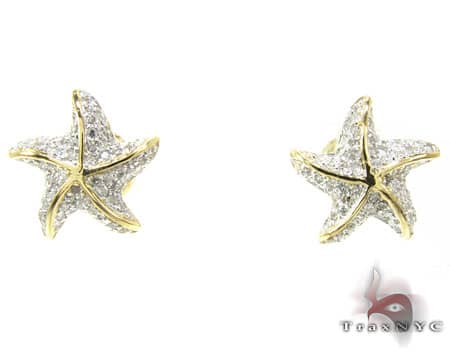 YG Starfish Earrings 4 Stone