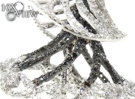 Black and White Ballerina Dangle Earrings Stone