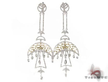 Two Tone Diamond Rain Earrings Stone