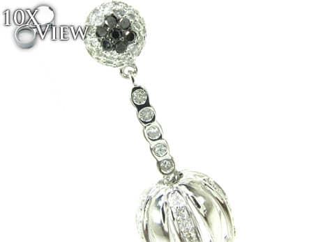 Black and White Diamond Hula Earrings Stone