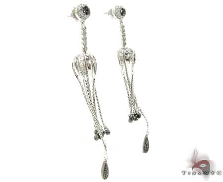 Black and White Diamond Hula Earrings Stone
