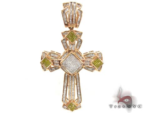 Canary Knight Cross Mens Diamond Cross