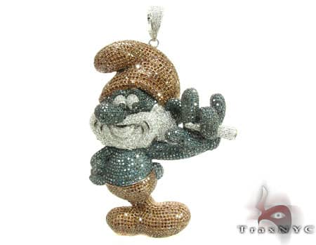 LArge Papa Smurf Diamond Pendant custom made by TraxNYC