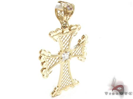 Wide Angle Gold Cross Gold