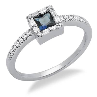 princess cut solitaire sapphire gemstone ring in