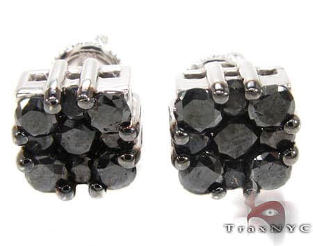 Black Berry Cluster Earrings 2 Stone