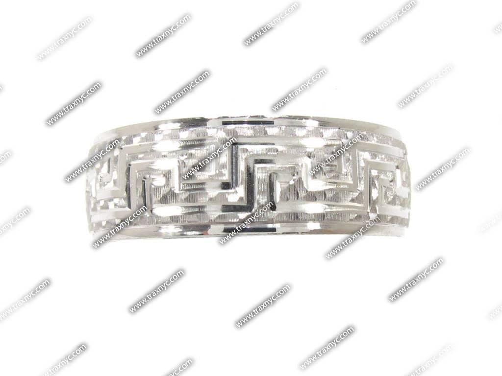 Mens Versace Design White Gold Wedding Ring Diamond