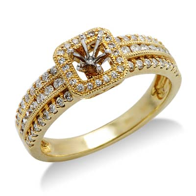 semi mount ring in yellow gold 17550