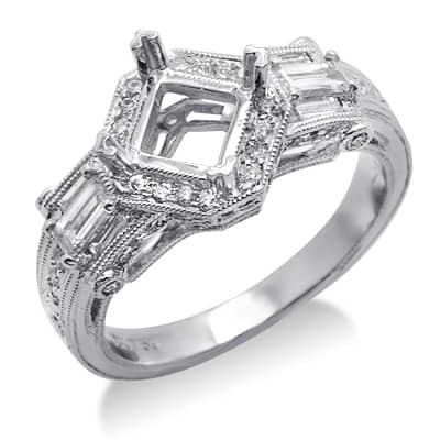 Diamond Semi Mount Ring in White Gold Engagement