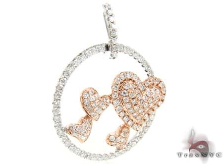 Rose Gold Hearts Pendant Stone