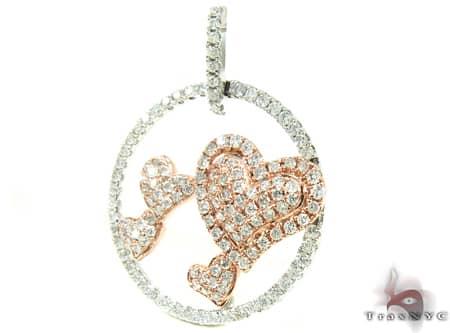 Rose Gold Hearts Pendant Stone