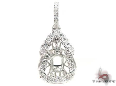 Diamond Teardrop Semi Mount Pendant  Stone