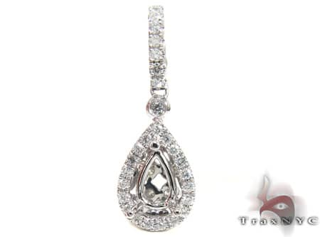 Diamond Teardrop Semi Mount Pendant 2 Stone