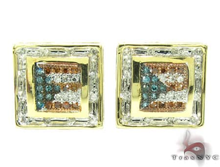 Yellow Gold Puerto Rican Flag Earrings Mens Diamond Earrings