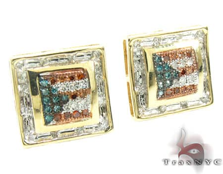 Yellow Gold Puerto Rican Flag Earrings Stone