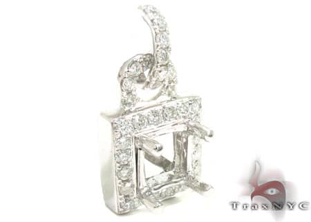 Diamond Square Semi Mount Pendant Stone